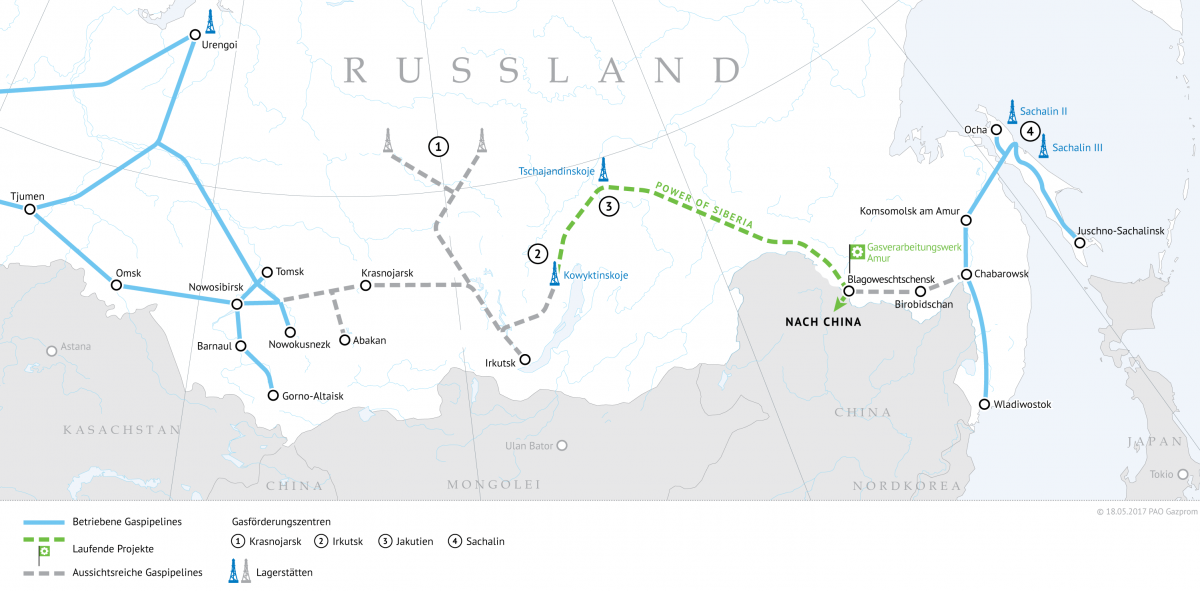"""Power of Siberia""-Gaspipeline: Russland liefert Erdgas an China"